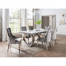 Islington 200cm Rectangle Dining Table, White Marble