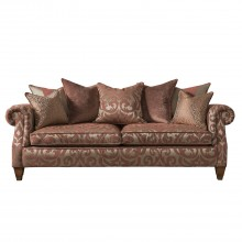 Duresta Beresford Grand Four Seater Scatter Back Fabric Sofa, Damask Cinnamon