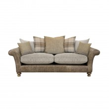 Alexander & James Lawrence Three Seater Scatter Back Fabric Sofa, Brown