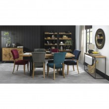 Finsbury Table & Six Chairs Dining Set, Rustic Oak & Peppercorn