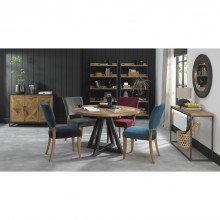 Finsbury Circular Table + 4 Chairs, Rustic Oak & Peppercorn