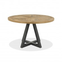 Finsbury Circular Dining Table, Rustic Oak & Peppercorn