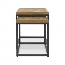 Finsbury Nest Of Tables, Rustic Oak & Peppercorn