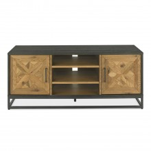Finsbury Media Unit, Rustic Oak & Peppercorn