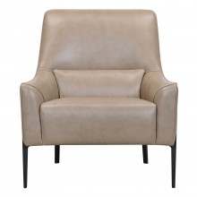 Elm Leather Accent Chair, Taupe