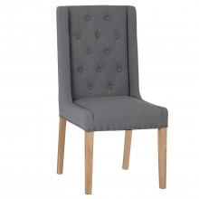 Pair Of Winged Button Studded Dining Chairs