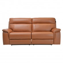 Harry Three Seater Power Recliner Leather Sofa, Brown