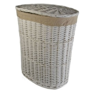 Casa Willow Large Laundry Basket, White