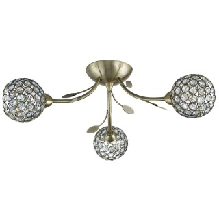 Mirren 3 Light Flush Antique Brass