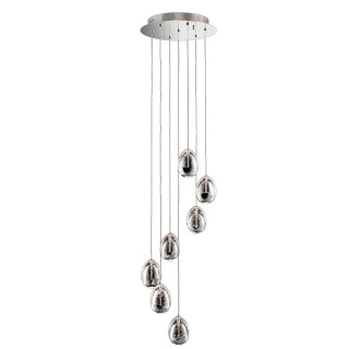 Casa Eden 7 Light Spiral Pendant, Chrome/clear
