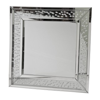 Casa Crystal Square Mirror, Silver