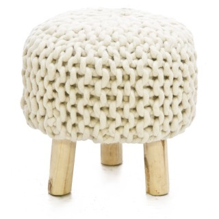 Casa Majestic Woolen Stool, Cream