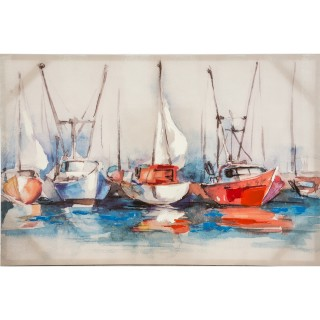 Watercolour Harbour Oil Painting on Canvas