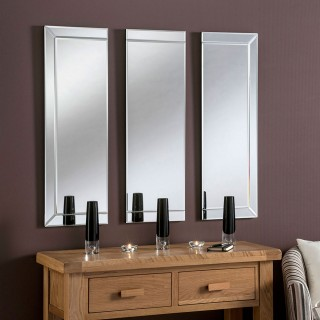 Yearn Glass Tripoli 3 Panel Mirror, Silver