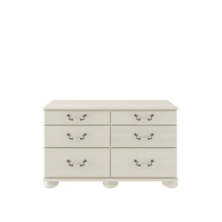 Casa Chloe 6 Drawer Chest 6 Draw, Antique Cream