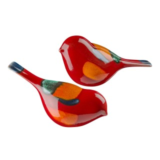 Poole Pottery Volcano Birds (pair Boxed), Orange