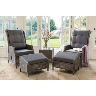 Kettler Classic Outdoor Recliner and Stool, Rattan/Taupe
