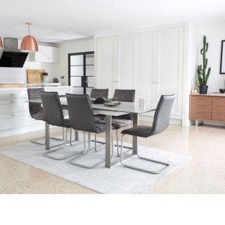 Casa Pierra 176-216cm Table & 6 Table, Light Grey