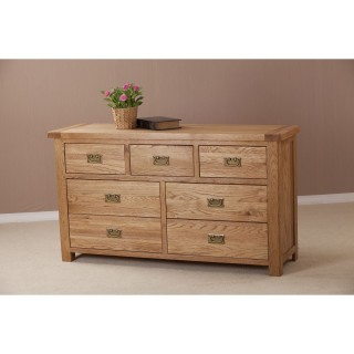Casa Seville 3 Over 4 Chest 7 Drawer, Solid Oak