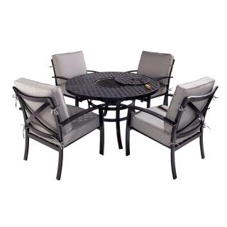 Jamie Oliver Outdoor Firepit Set, 4 Seater, Riven/Pewter