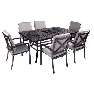 Jamie Oliver Outdoor Feastable Grilling Set, 6 Seater, Riven/Pewter