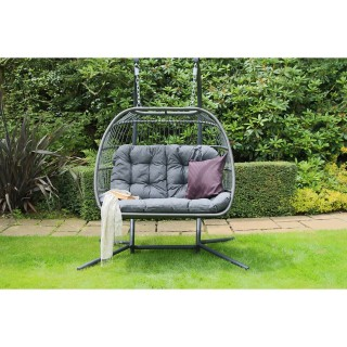 Eleanor Double Cocoon Garden Hanging Chair, Grey