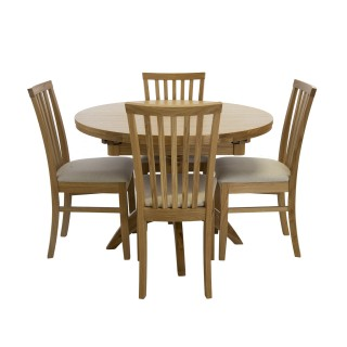 Casa Marseille Round Extending Table & 4 Dining Chair Set