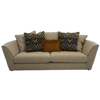 Casa Marlow 3 Str Pillow Back Sofa 3 Seat, Gina V Gold/piped Deluxe Wood