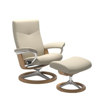 Stressless Dover Chair And Footstool, Large,  Batick Cream/oak