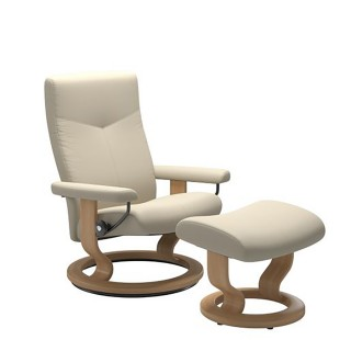 Stressless Dover Chair And Footstool, Medium,  Batick Cream/oak