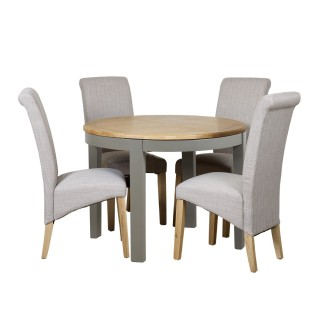 Watford Round Extending Table and 4 Scroll Chairs, Grey