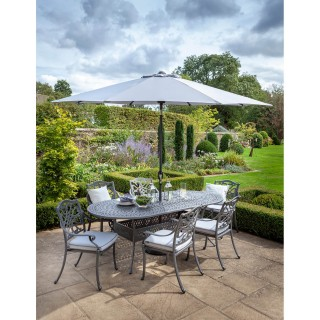 Hartman Capri 6 Seater Garden Dining Set, Grey/Platinum