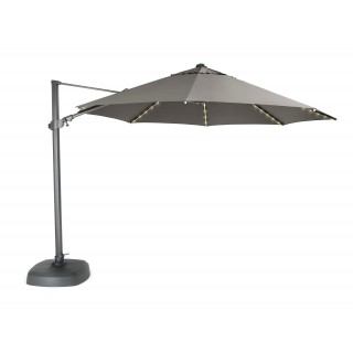 Kettler Free Arm LED Light Parasol with Bluetooth Wireless Speaker, 3.5m, Grey/T
