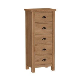 Casa Radstock 5 Drawer Narrow Chest, Grey