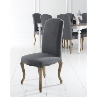 Casa Luxury Studs, Carved Legs Chair x 2 , Grey