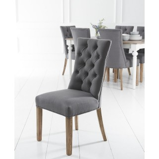 Casa Curved Button Back Chair x 2, Grey