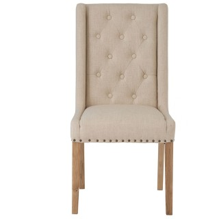 Casa Winged Button Studded Chair x 2, Beige