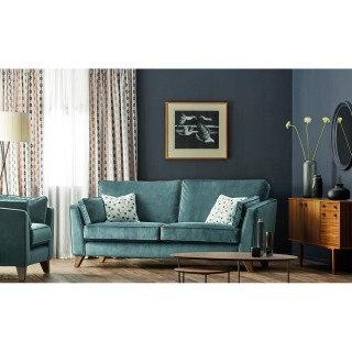 Casa Viscount 3 Seater Fabric Sofa, Blue
