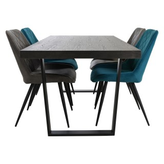 Casa Harrow Dining Table & 4 Velvet Chairs Set