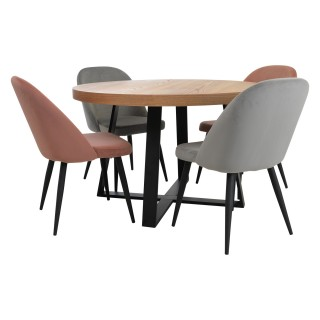 Casa Ealing Circular Dining Table & 4 Chairs Set