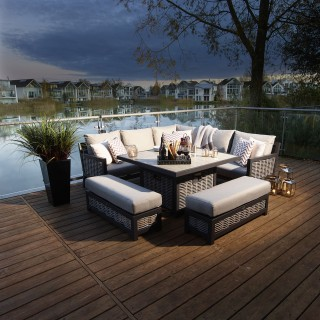 Bramblecrest Portofino Modular Sofa & Firepit Table Set