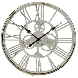 Westminster Artistic Gears Wall Clock, Silver